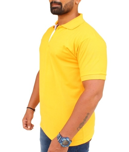 Plain Collar T Shirts Short Sleeves