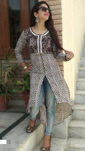 Brown Cotton Printed Straight Kurti in  Vaishali Nagar