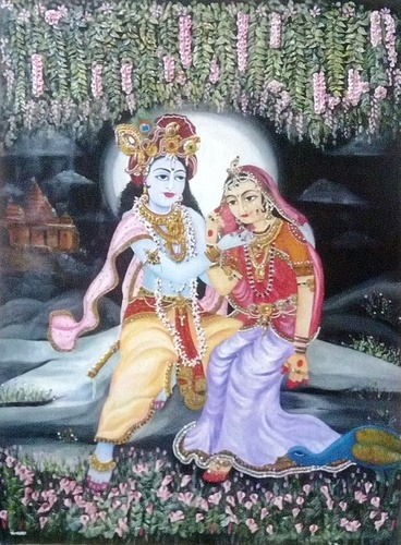 Handmade Radha Krishna Painting