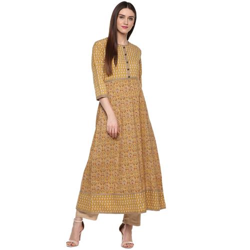 Handloom Palace Printed Long Kurti For Women 3/4 Sleeves