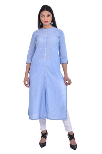 customized plain cotton rayon blue a line kurti