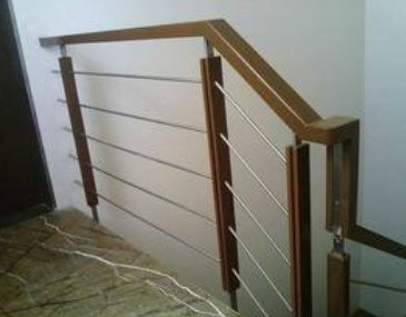 Wood And Stainless Steel Railing