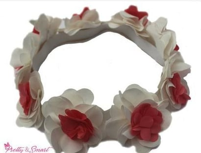White And Coral Satin Floral Hairband For Girl (Pretty28)