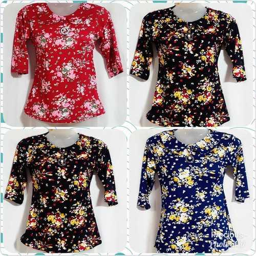 Ladies Fancy Printed Stretchable Tops