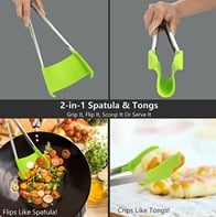 2 in 1 Silicone Spatula and Tongs