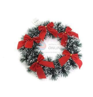 Plastic Christmas Garland With Bowknot