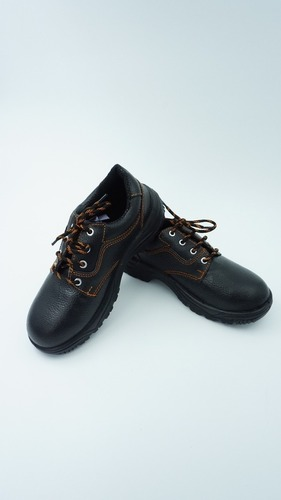Mens Black Leather Safety Shoes