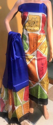 Pure Silk Hand Painted Kurti Dupatta Set