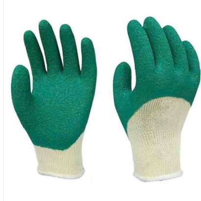 Construction Working Polyester Crinkle Palm Coated Latex Gloves