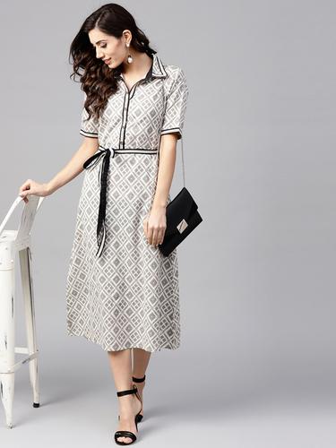 Women Off-White and Black Printed Midi Shirt Dress