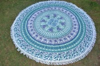 Cotton Fabric Indian Round Mandala Animal Print Towel Roundie