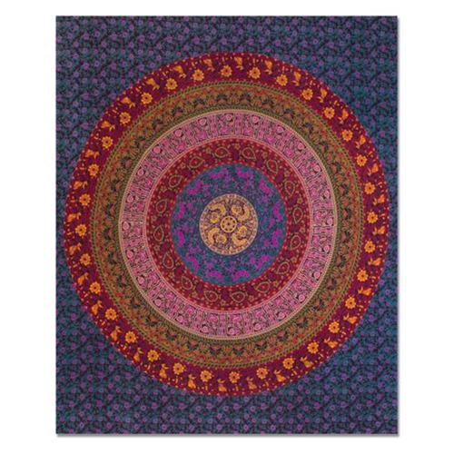 Guru Mandala Indian 100% Cotton Handmade Naptol Print Bohemian Wall Hanging Home Decor Bedspread Bedsheet Tapestry