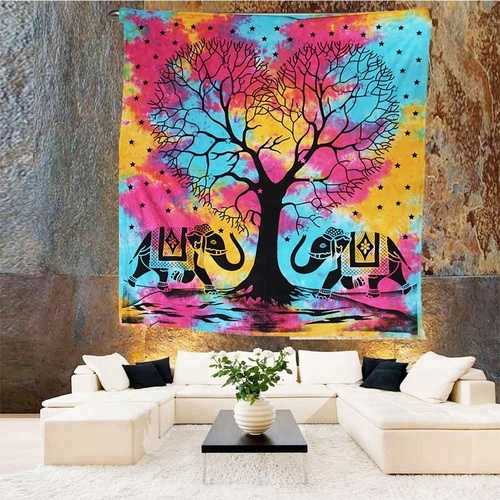Dual Elephant Tree Of Life Indian 100% Cotton Wall Hangings Tapestry