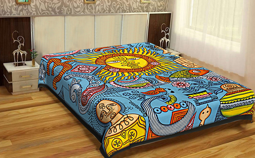 Mandala Indian 100% Cotton Fabric Zodiac Horoscope Hippie Hippy Astro Psychodelic Design Sun Moon Tapestry