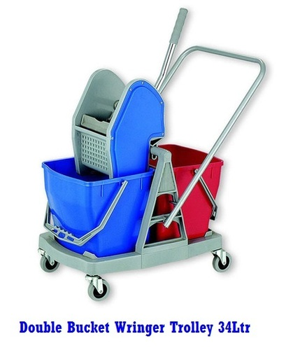 Blue & Red Double Bucket Wringer Mopping Trolley 34Ltr