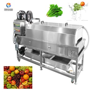Automatic Chain Conveyor High Spray Fruit Vegetable Grapes Durian Washing Cleaning Machine