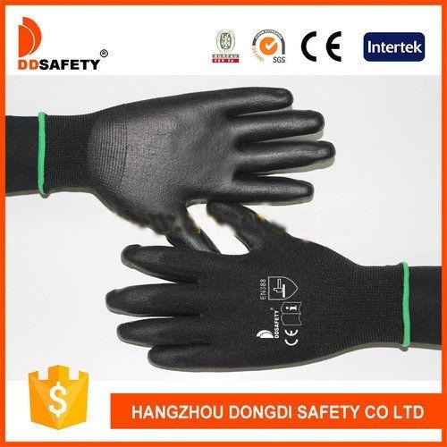 DDSAFETY Black Nylon Coated Grey Pu Work Gloves EN388