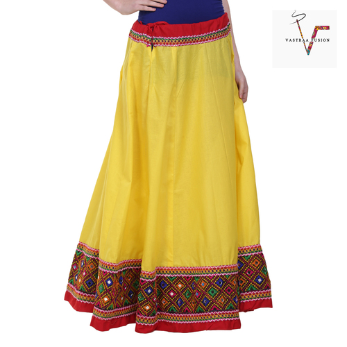 Ethnic Skirt Full Length With Embroidered Lace Cotton