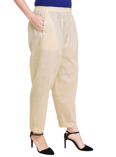 Ladies Cotton Pant Look With Buttons