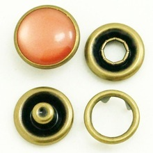 Brass Metal Ring Cap Pearl Prong Snap Button For Baby Garments