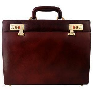 Glossy Finish Leather Briefcase