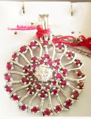 Ruby Solitaire Round Pendant