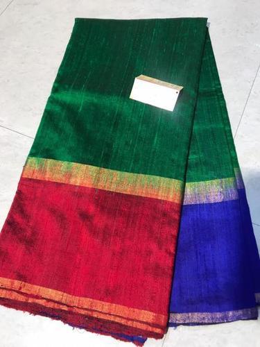 Pure Dupion Raw Silk Handloom Double Shaded Border Saree