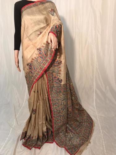 Pure Gheecha Silk Hand Madhubani Printed Saree