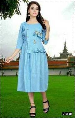 Sky Blue Elegant Look Designer Kurtis
