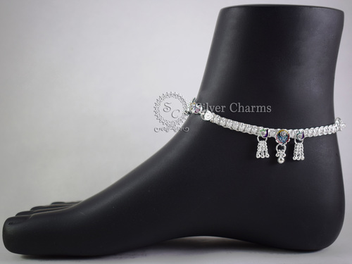 Unique Designs Khushboo Silver Anklets