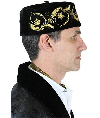Historical Emporium Men'S Deluxe Velvet Embroidered Smoking Cap Age Group: All