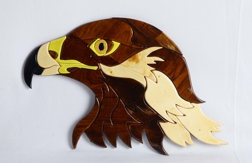 Wooden Sculpture Eagle Face Height: 10.5 Inch (In)