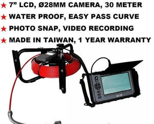 30M Tip:28MM Pipe Duct Sewer Camera Borescope Endoscope NDT