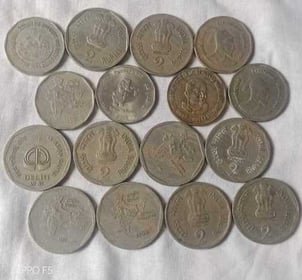 Antique Two Rupees Indian Coins