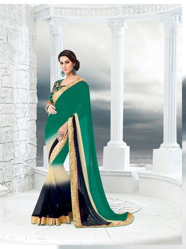 Ladies Georgette Saree With Embroidery Blouse Piece