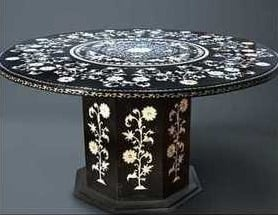 Handcrafted Black Marble Table Top With Base