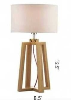 White Shade Table Lamp With Wood Base