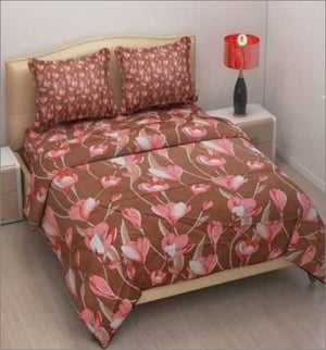 Double Bed Printed Silk Bedsheets, Set Contain: One Bed Sheet, Two Pillow Cover