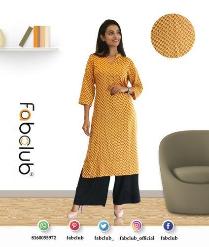Fabclub Heavy Rayon Yellow Trendy Printed Women Kurti Floral Style