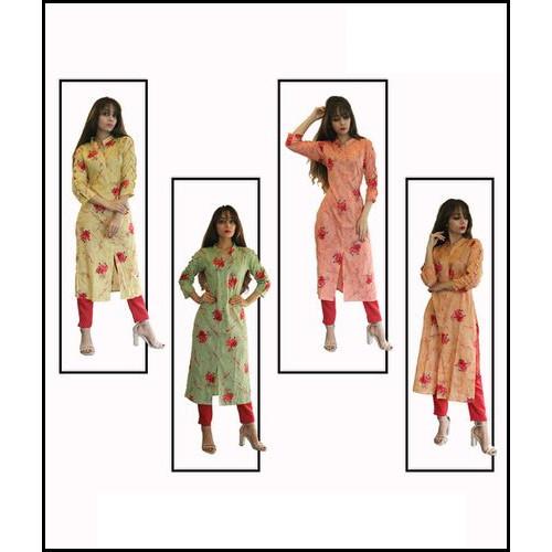Red Floral Printed Straight Kurti