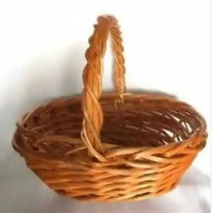 Brown Polished Wooden Basket with Handle