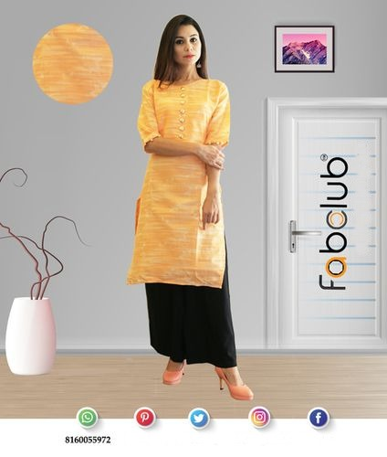 Fabclub Cambric Cotton Printed Stylish Sleeves Straight Ladies Kurti