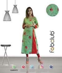 Fabclub Cambric Cotton Printed Women Light Green A-Line Kurti