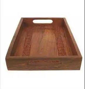 Dark Brown Wooden Serving Tray
