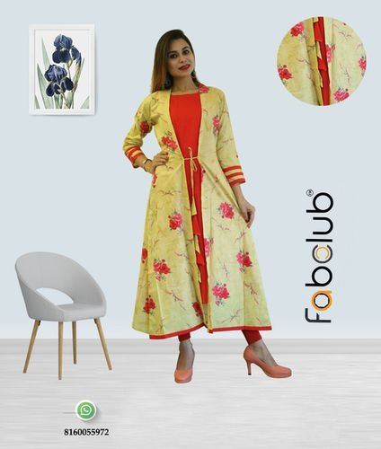 Fabclub Cambric Cotton Yellow and Red Printed Shrug Style Ladies Kurti