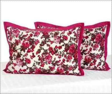 Red Printed Cotton Pillow Covers