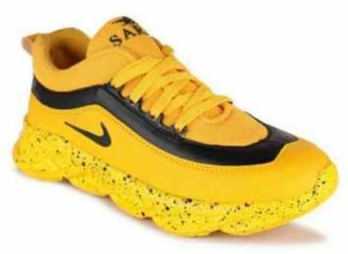 Mens Yellow Color Sport Shoes Heel Size