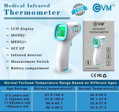 White Infrared Thermometer With High Temperature Alarm