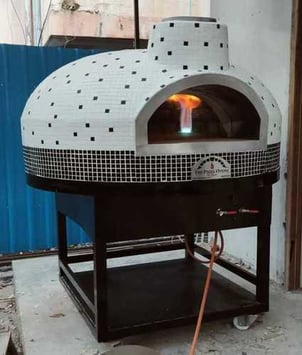 Semi Portable Brick Wood Fired Pizza Oven with Steel Stand