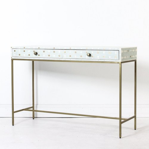Furniture Hardware Bone Inlay Console Brass Coin Table